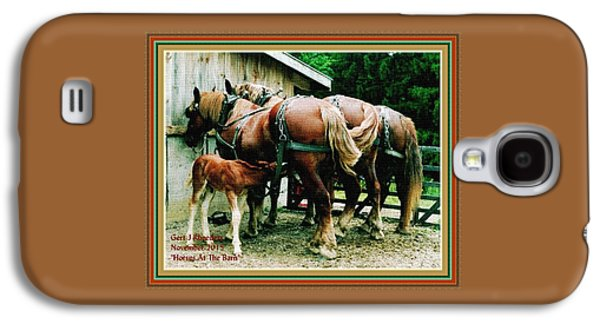 Horses At The Barn H A With Decorative Ornate Printed Frame. Galaxy S4 Case by Gert J Rheeders