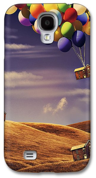 Surreal Landscape Galaxy S4 Cases - House in the air Galaxy S4 Case by Mihaela Pater