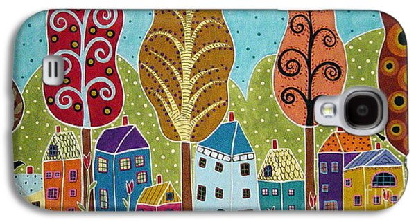 Folk Art Mixed Media Galaxy S4 Cases - Houses Trees Birds Painting by Karla G Galaxy S4 Case by Karla Gerard