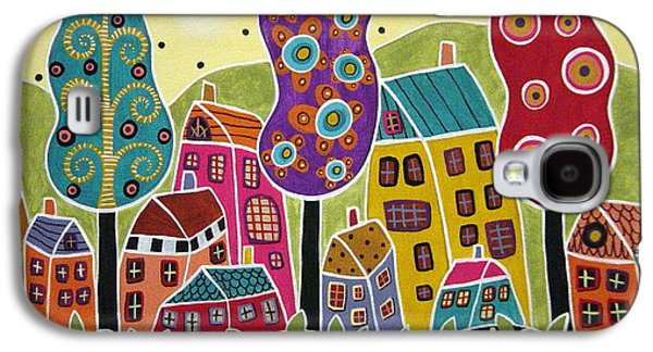 Folk Art Mixed Media Galaxy S4 Cases - Houses Trees Flowers Galaxy S4 Case by Karla Gerard