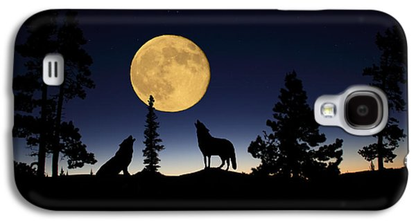 Preditor Galaxy S4 Cases - Howling at the Moon Galaxy S4 Case by Shane Bechler