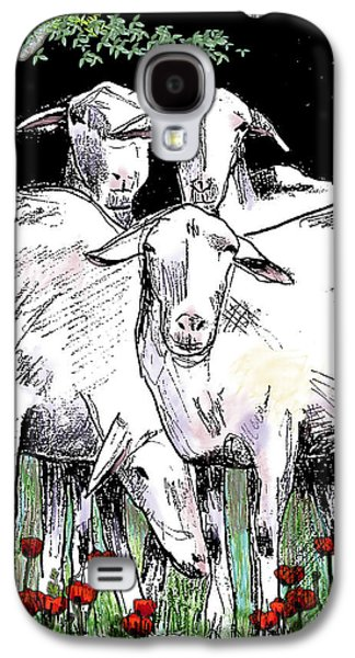 Sheep Digital Art Galaxy S4 Cases - Huddled Together Galaxy S4 Case by Arline Wagner