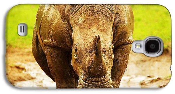 Mud Season Galaxy S4 Cases - Huge South African rhino Galaxy S4 Case by Anna Omelchenko
