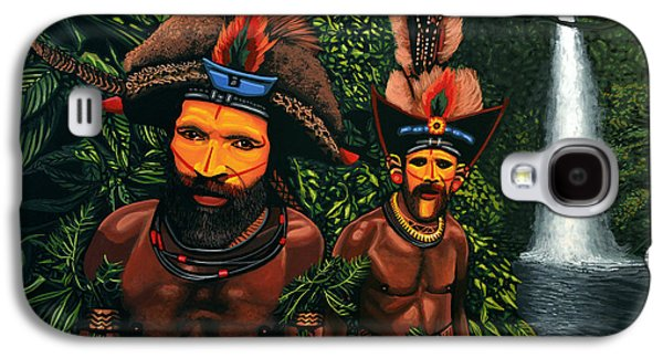 Waterfalls Paintings Galaxy S4 Cases - Huli men in the jungle of Papua New Guinea Galaxy S4 Case by Paul Meijering