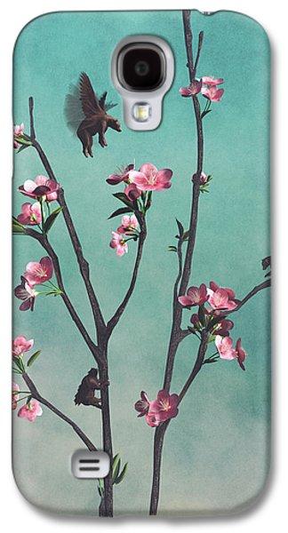 Cherry Blossoms Digital Art Galaxy S4 Cases - Hummingbears Galaxy S4 Case by Cynthia Decker