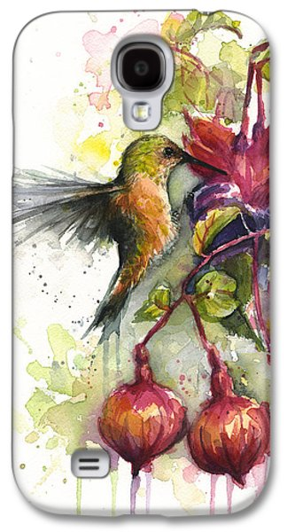 Hummingbird And Fuchsia Galaxy S4 Case by Olga Shvartsur