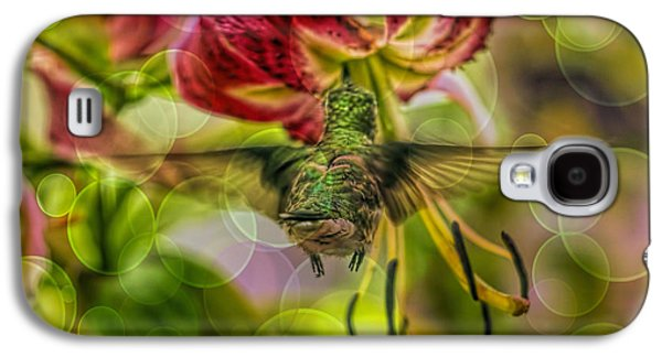 Florescent Lighting Galaxy S4 Cases - Hummingbird And Pendant Flower With Overlay  Galaxy S4 Case by Geraldine Scull