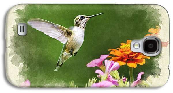 Original Art Photographs Galaxy S4 Cases - Hummingbird Flying with Flowers Blank Note Card Galaxy S4 Case by Christina Rollo