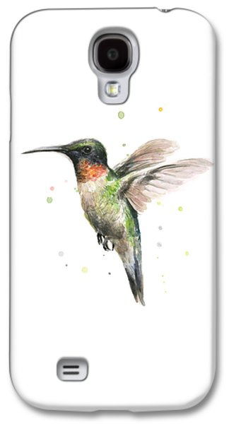 Illustration Paintings Galaxy S4 Cases - Hummingbird Galaxy S4 Case by Olga Shvartsur