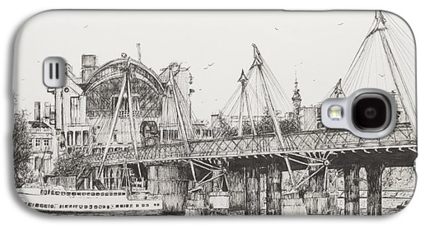 Harbor Drawings Galaxy S4 Cases - Hungerford Bridge Galaxy S4 Case by Vincent Alexander Booth