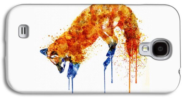 Fox Digital Galaxy S4 Cases - Hunting Fox Watercolor Painting Galaxy S4 Case by Marian Voicu