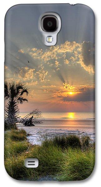 Beach Landscape Galaxy S4 Cases - Hunting Island SC Sunrise Palm Galaxy S4 Case by Dustin K Ryan