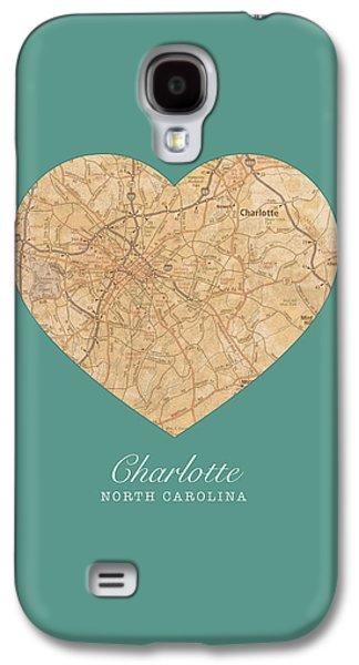 Charlotte Mixed Media Galaxy S4 Cases - I Heart Charlotte North Carolina Vintage City Street Map Americana Series No 008 Galaxy S4 Case by Design Turnpike