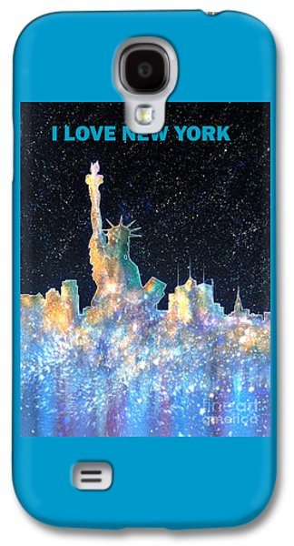 Skylines Paintings Galaxy S4 Cases - I Love New York Galaxy S4 Case by Bill Holkham