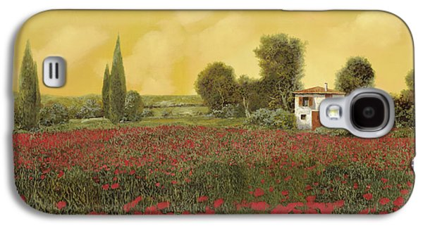 Close Up Paintings Galaxy S4 Cases - I Papaveri E La Calda Estate Galaxy S4 Case by Guido Borelli