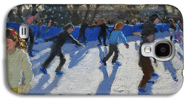 Ice Skaters At Christmas Fayre In Hyde Park  London Galaxy S4 Case by Andrew Macara