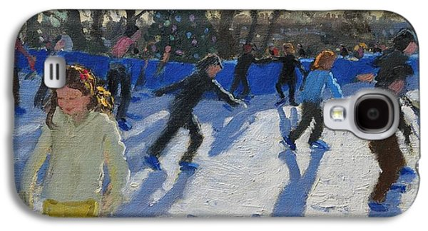 Pond In Park Galaxy S4 Cases - Ice Skaters at Christmas Fayre in Hyde Park  London Galaxy S4 Case by Andrew Macara