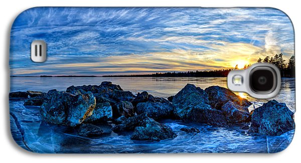 Maine Winter Galaxy S4 Cases - Icebound Sunset Panorama Galaxy S4 Case by Bill Caldwell -        ABeautifulSky Photography
