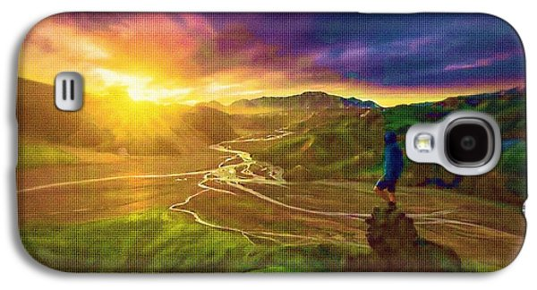 Photo Manipulation Paintings Galaxy S4 Cases - Icelandic Valley Views Galaxy S4 Case by Mario Carini