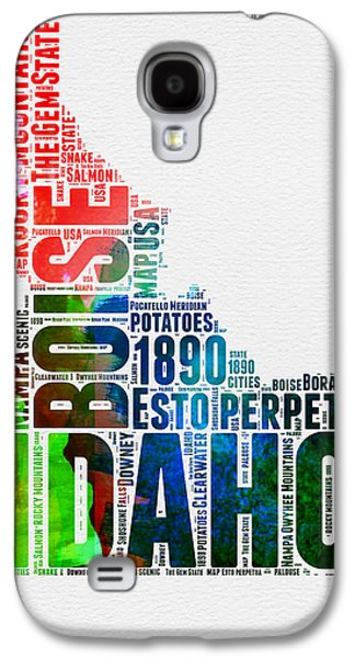 4th July Mixed Media Galaxy S4 Cases - Idaho Watercolor Word Cloud  Galaxy S4 Case by Naxart Studio
