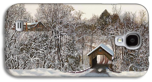 Winter Paintings Galaxy S4 Cases - Il Ponte Coperto Di Legno Galaxy S4 Case by Guido Borelli