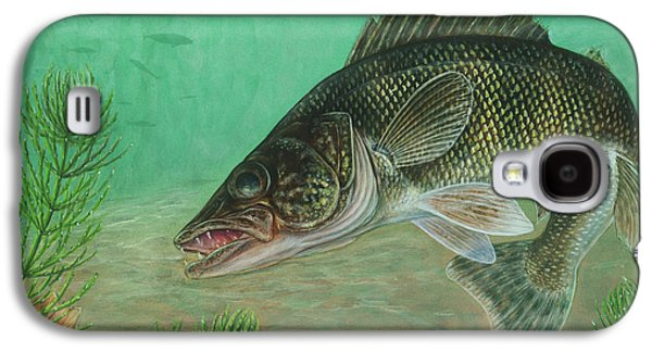 Walleye Galaxy S4 Cases - Illustration Of A Walleye Swimming Galaxy S4 Case by Carlyn Iverson