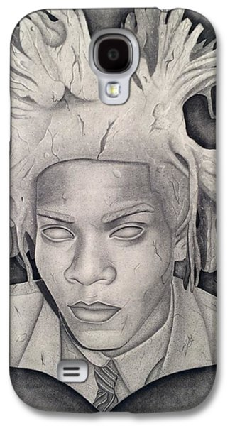 Statue Portrait Drawings Galaxy S4 Cases - Immortalizing In Stone Jean Michel Basquiat Drawing Galaxy S4 Case by Angelee Borrero