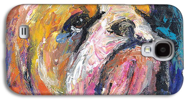 Contemporary Abstract Drawings Galaxy S4 Cases - Impressionistic Bulldog painting Galaxy S4 Case by Svetlana Novikova