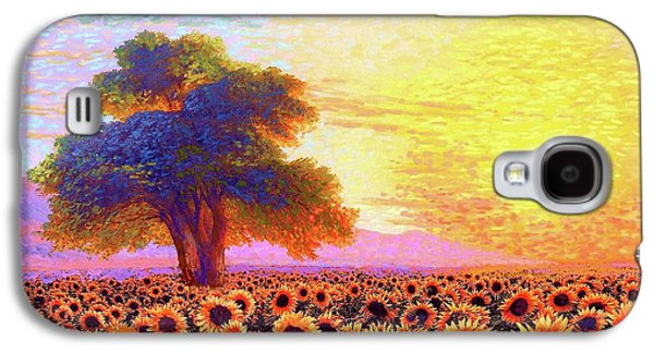 In Awe Of Sunflowers, Sunset Fields Galaxy S4 Case by Jane Small