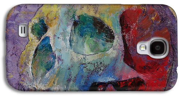 Drips Paintings Galaxy S4 Cases - Vintage Skull Galaxy S4 Case by Michael Creese
