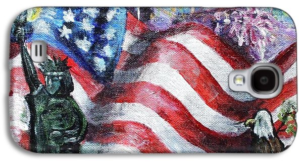 4th July Paintings Galaxy S4 Cases - Independence Day Galaxy S4 Case by Shana Rowe