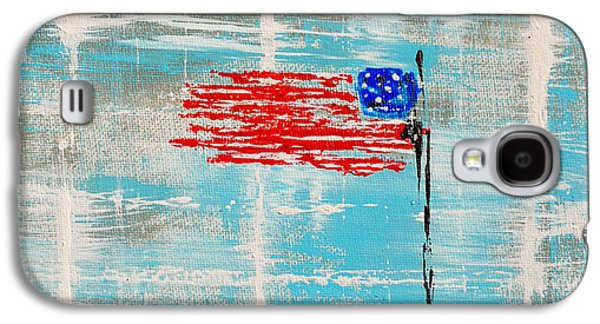 4th July Paintings Galaxy S4 Cases - Independence With Clouds Galaxy S4 Case by Alys Caviness-Gober