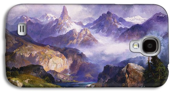 Snow Capped Galaxy S4 Cases - Index Peak Yellowstone National Park Galaxy S4 Case by Thomas Moran