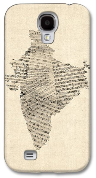 India Map, Old Sheet Music Map Of India Galaxy S4 Case by Michael Tompsett