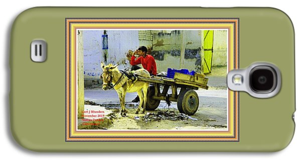 Indian Donkey Cart Owner H A With Decorative Ornate Printed Frame. Galaxy S4 Case by Gert J Rheeders