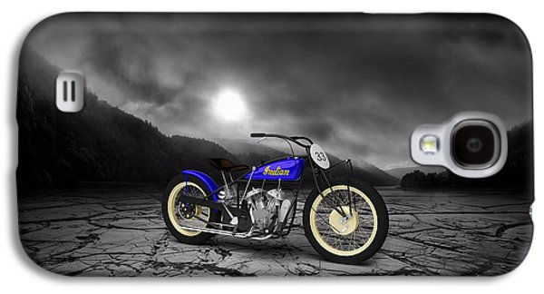 Mountain Valley Galaxy S4 Cases - Indian Motorcycle Flat Track Racer 1928 Mountains Galaxy S4 Case by Aged Pixel