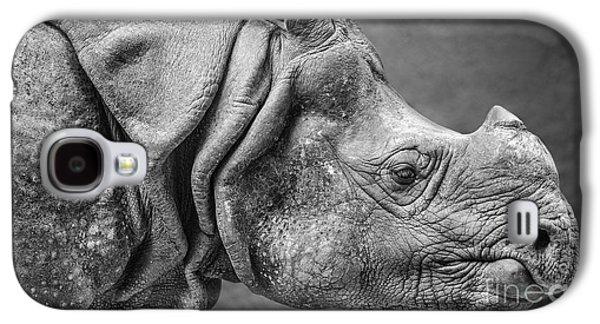 One Horned Rhino Galaxy S4 Cases - Indian Rhino Profile Galaxy S4 Case by Jamie Pham