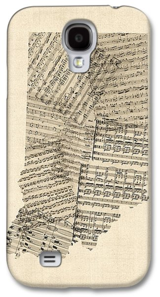 Indiana Map, Old Sheet Music Map Galaxy S4 Case by Michael Tompsett