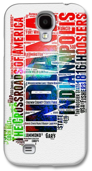 Indiana Watercolor Word Cloud Map  Galaxy S4 Case by Naxart Studio