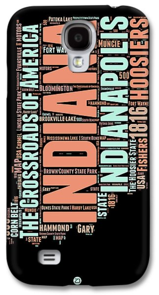 Indiana Word Cloud Map 1 Galaxy S4 Case by Naxart Studio