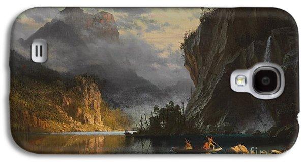 Indians Spear Fishing Galaxy S4 Case by Albert Bierstadt