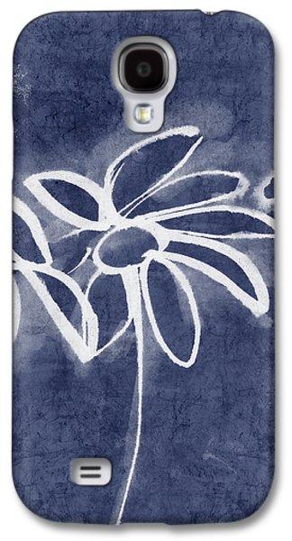 Indigo Floral 1- Art By Linda Woods Galaxy S4 Case by Linda Woods