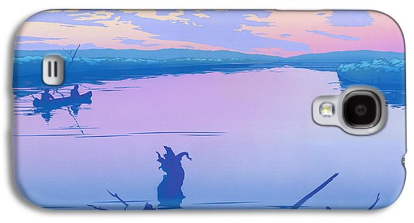 Sunset Abstract Galaxy S4 Cases - iPhone - Galaxy Case - Canoeing The River Back To Camp At Sunset Landscape Abstract  Galaxy S4 Case by Walt Curlee