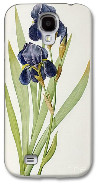 Purple Paintings Galaxy S4 Cases - Iris Germanica Galaxy S4 Case by Pierre Joseph Redoute