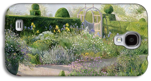 Pathway Paintings Galaxy S4 Cases - Irises in the Herb Garden Galaxy S4 Case by Timothy Easton