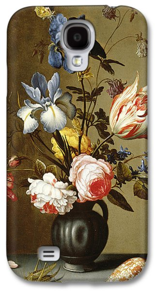 Irises, Roses, Columbine, Hyacinth And A Tulip In A Black Pottery Pitcher Galaxy S4 Case by Balthasar van der Ast