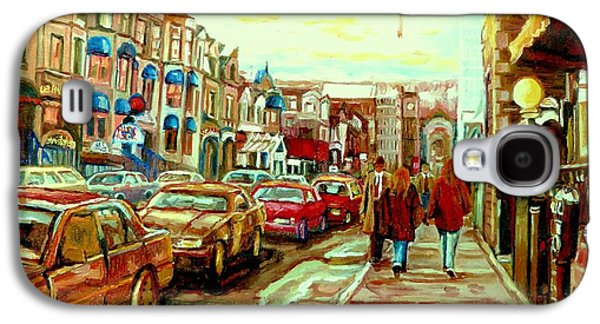 Luncheonettes Paintings Galaxy S4 Cases - Irish Pubs And Bistros Downtown Montreal Galaxy S4 Case by Carole Spandau