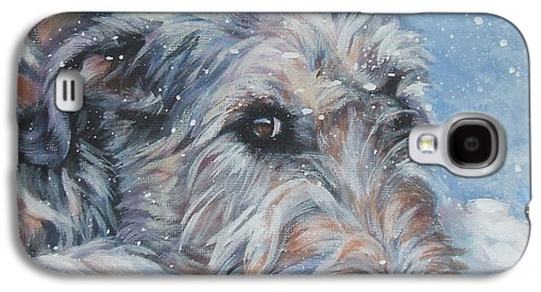 Winter Paintings Galaxy S4 Cases - Irish Wolfhound resting Galaxy S4 Case by Lee Ann Shepard
