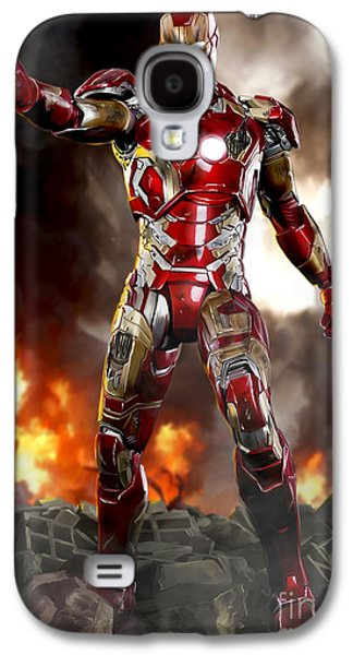Shield Digital Galaxy S4 Cases - Iron Man with Battle Damage Galaxy S4 Case by Paul Tagliamonte