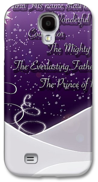 Bible Quotes Galaxy S4 Cases - Isaiah Chapter 9 Verse 6 Christmas Card Galaxy S4 Case by Lisa Knechtel